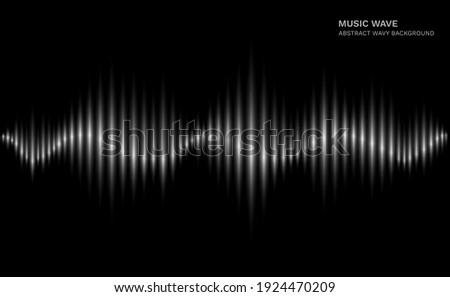 Radio wave. Black and white sound dynamic waveform on dark background. Abstract electronic music futuristic vector creative concept. Illustration equalizer music, electronic wave audio