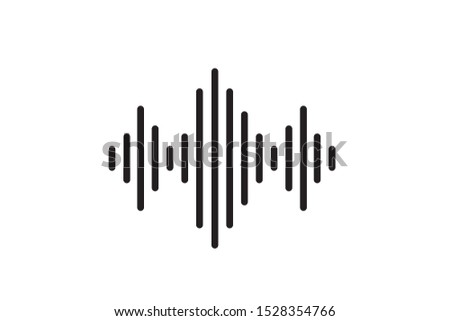 Radio wave or sound wave icon vector isolated, electric signal wave icon, sound wave vector icon