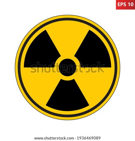 Radioactive hazard sign. Nuclear non-ionizing radiation symbol. Illustration of yellow circular warning sign with trefoil icon inside. Attention. Danger zone. Caution radiological contamination. Сток-фото ©