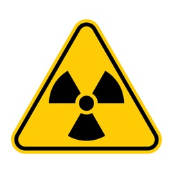 Radioactive hazard sign. Nuclear non-ionizing radiation symbol. Illustration of yellow triangle warning sign with trefoil icon inside. Attention. Danger zone. Caution radiological contamination.