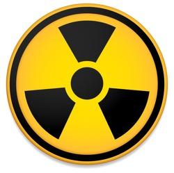 Radioactive sign, symbol. Stylized orange circle.