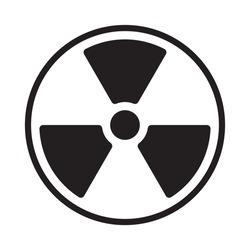 Radioactive symbol icon. Nuclear radiation warning sign. Atomic energy logo. Vector illustration image. Isolated on white background.