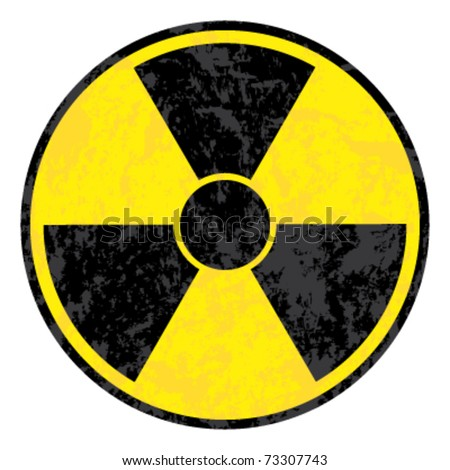 radioactive symbol. Vector grunge icon.