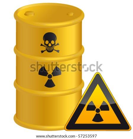radioactive tank and warning sign - vector illustration