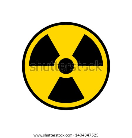 Radioactive warning yellow circle sign. Radioactivity warning vector symbol. Сток-фото ©