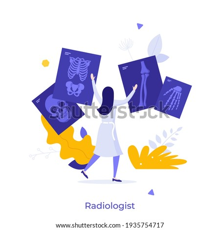 Radiologist, radiographer, physician looking at skeletal system radiographs. Concept of radiology, X-ray radiography, radiologic diagnostics, medical imaging. Modern flat colorful vector illustration. Stock photo ©