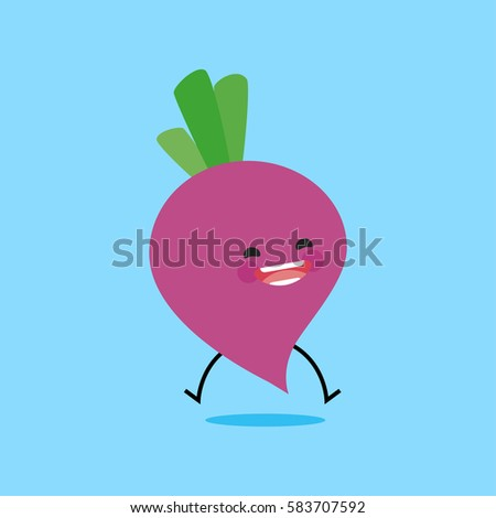 radish with cute face. Illustration funny and healthy food cartoon. Blue background