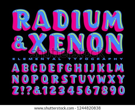 Radium and Xenon is a brightly colored and whimsical alphabet. This lettering style is perfect on kids' party invitations, psychedelic rave party flyers, or anywhere a fun and crazy font is needed.