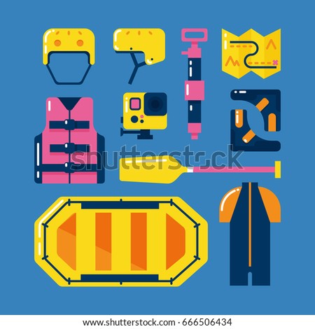 Rafting icons set. Main rafting equipment and gear. Water hiking.
