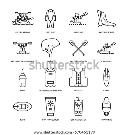 Rafting, kayaking flat line icons. Vector illustration of water sport equipment - river raft, kayak, canoe, paddles, life vest.