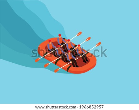 Rafting sports vector concept. Group of people wearing helmet and buoy while rafting on the river Foto stock ©