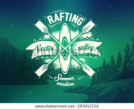 rafting typography design on