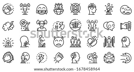 Rage icons set. Outline set of rage vector icons for web design isolated on white background Stock photo ©