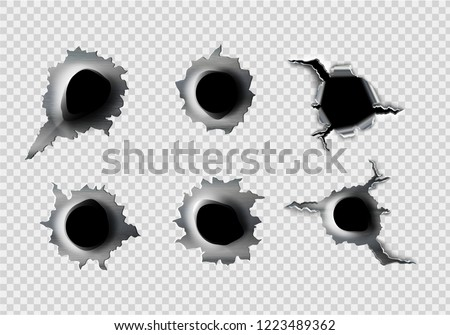 ragged hole in metal from