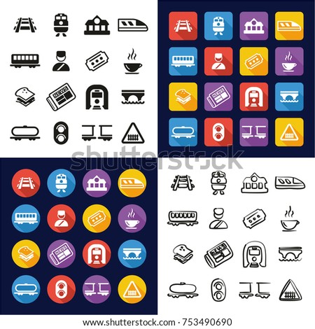 railroad all in one icons black