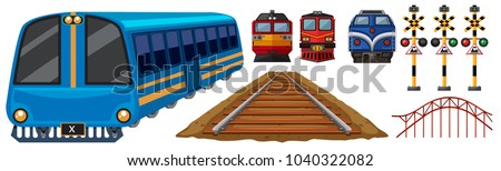 Railroad and different designs of trains illustration