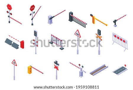 Railroad barrier icons set. Isometric set of railroad barrier vector icons for web design isolated on white background Сток-фото ©