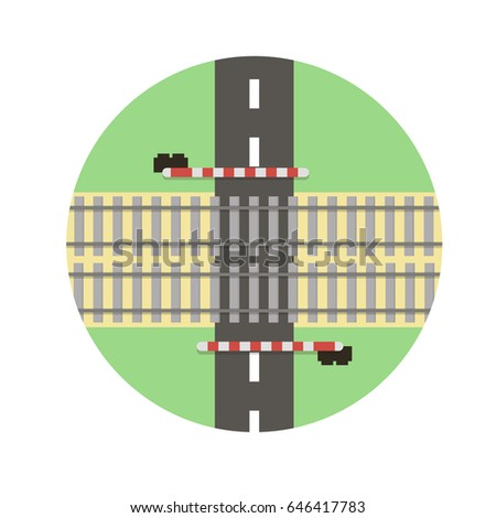 railroad crossing in vector