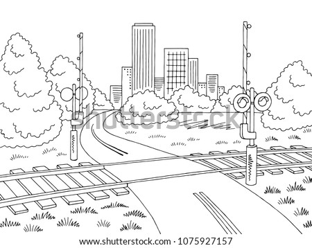 railroad crossing road graphic