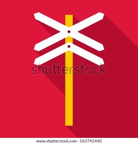 Railroad crossing sign icon. Flat illustration of railroad crossing sign vector icon for web design