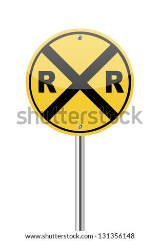 railroad crossing traffic sign...
