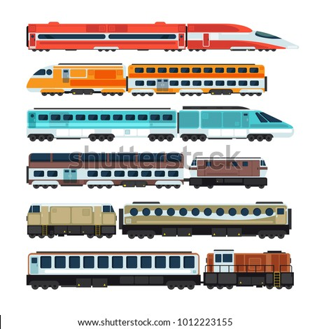 Railroad passenger trains and carriages. Flat vector railway transport set. Train transport railway, carriage travel, wagon transportation passenger illustration
