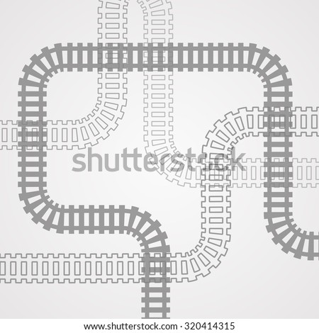 Railroad track silhouettes. Railway tracks cartoon vector illustration.