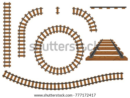 Railway, a set of railroad tracks. Rails and sleepers. Flat design, vector illustration, vector.
