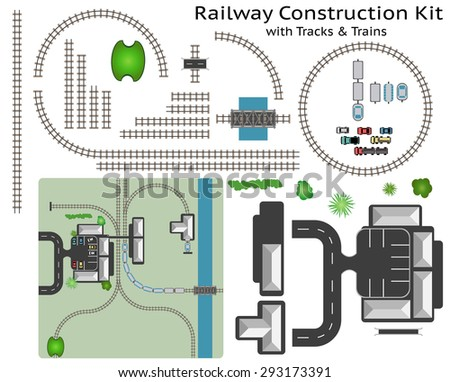 Railway and Station Building Construction Kit with Train - Build your own railway, grouped and layered, see my portfolio for other kits
