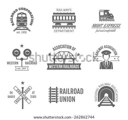 Railway corporation railroad department fast train express black label set isolated vector illustration