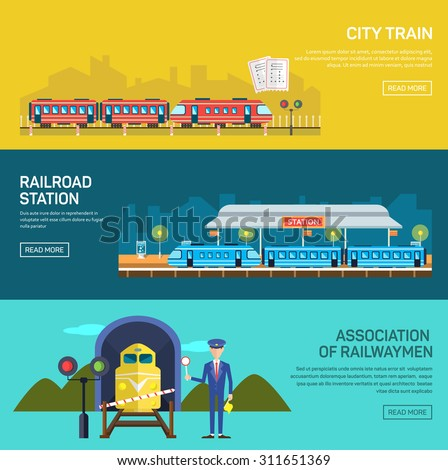 Railway design concept set with train station steward railroad passenger flat icons isolated vector illustration banners