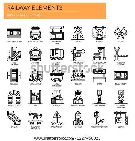 Railway Elements , Thin Line and Pixel Perfect Icons