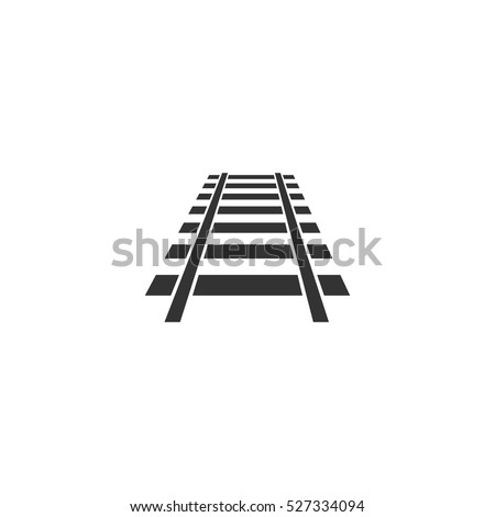 Railway icon flat. Illustration isolated vector sign symbol