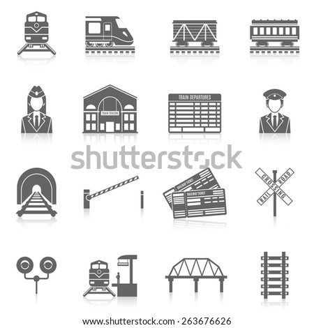 railway icon set black with