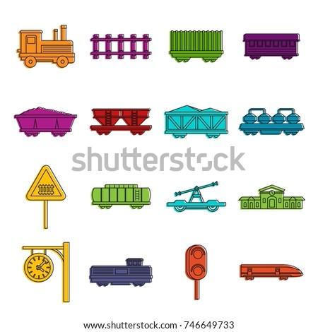 railway icons set doodle