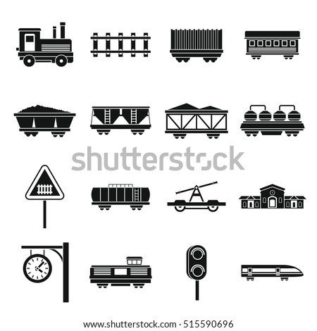 Railway icons set. Simple illustration of 16 railway vector icons for web