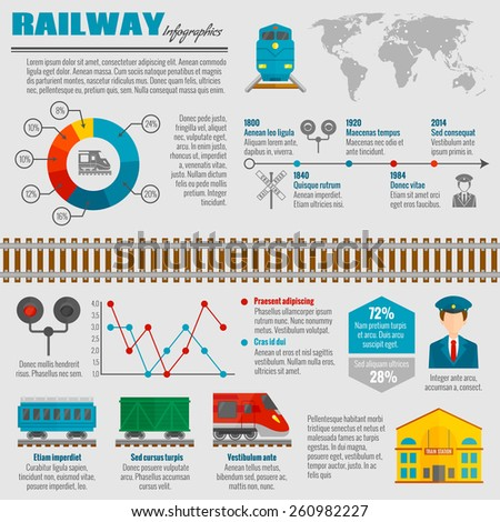 railway infographic set with