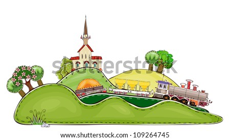 railway station and tran goes through country side - stock vector