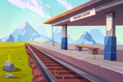 Railway station at mountains, empty railroad platform for train in highland countryside area perspective view, beautiful nature landscape background, public transportation. Cartoon vector illustration