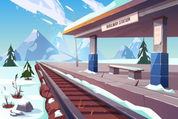 Railway station at mountains winter snowy landscape, empty railroad train platform in highland countryside area perspective view, nature background, public transportation. Cartoon vector illustration