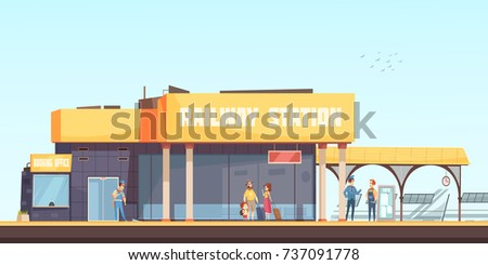 Railway station background booking office cleaner inspector and passengers waiting train on platform flat vector illustration