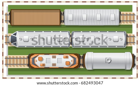 Railway station on a white background. View from above. Vector illustration.