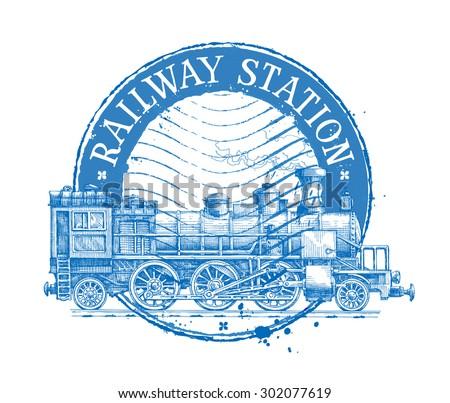 railway station vector logo design template. Shabby stamp or passenger train, steam locomotive icon