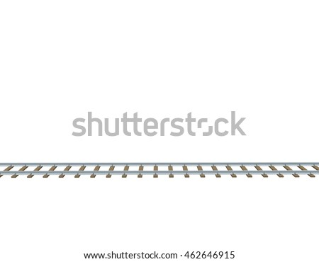 Railway track. Isolated on white background. 3d Vector illustration.Side view.