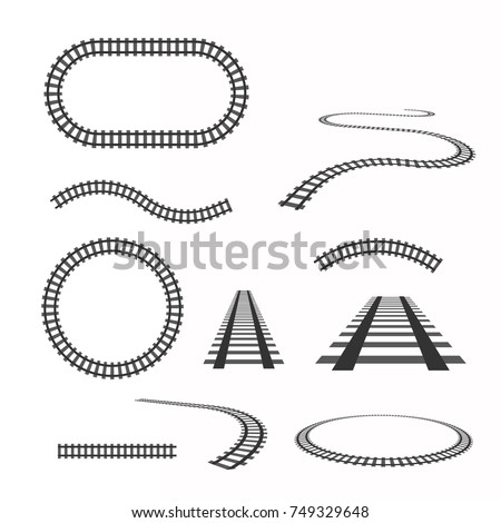 Stock Photo Railway vector template. Set of railroads isolated.