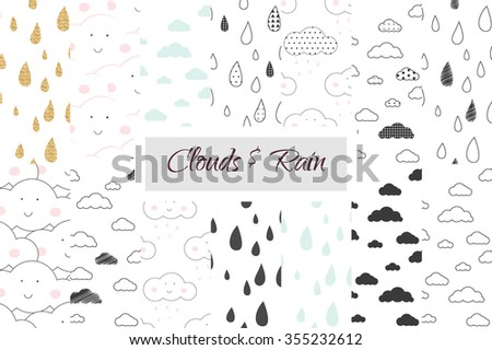 rain and clouds kids seamless