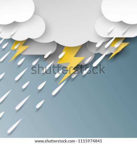 Rain,cloud and thunderbolt on rainy day season background paper art style.Vector illustration.