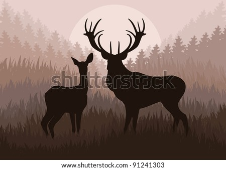rain deer family in wild forest