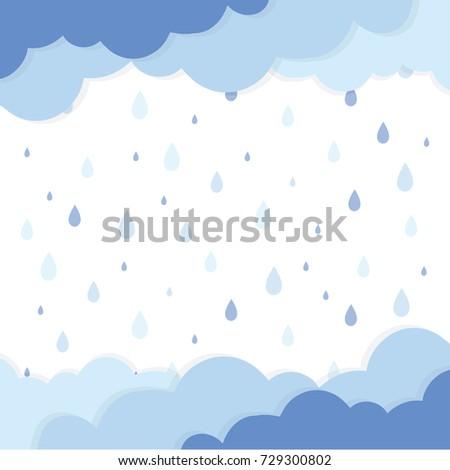 Rain drop background template. Rainy season. Blue rain drop and cloud pattern. Vector illustration.