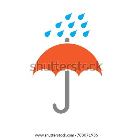 rain drops umbrella icon